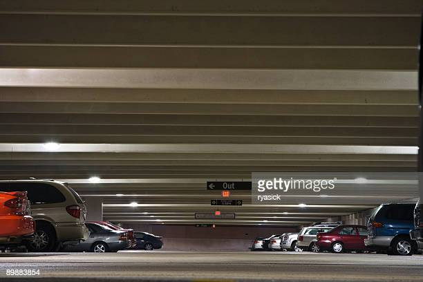 Parking Garage Interior Worms Eye View With Parked Vehicles