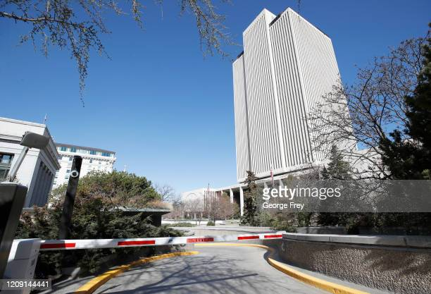 A parking garage is closed at the world headquarters of the Church of Jesus Christ of LatterDay Saints during their 190th Annual General Conference...