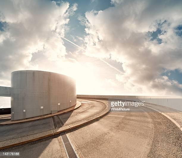 Parking garage road in the sky