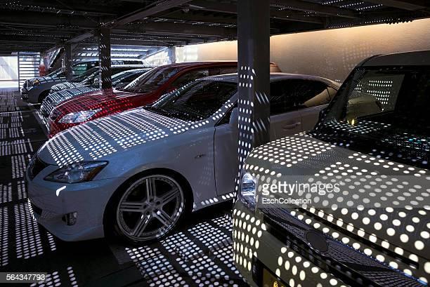 Parking garage with Polka dot cars, Kyoto, Japan
