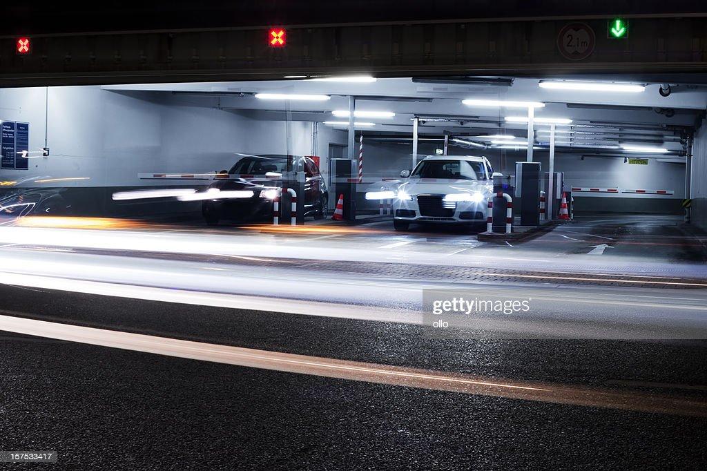 Parking garage's exit - blurred motion : Stock Photo