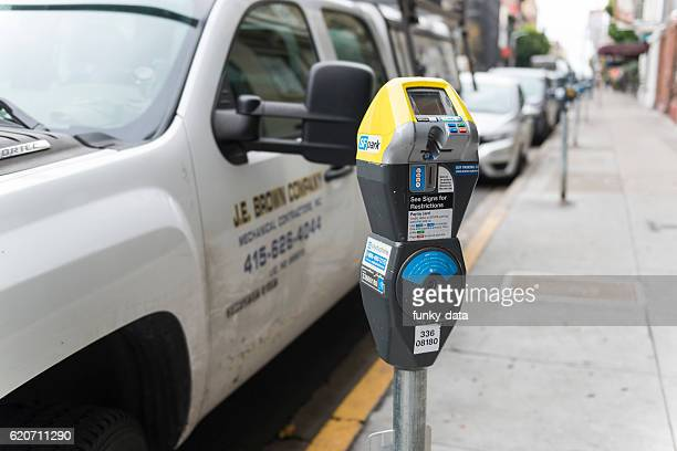 parking in san francisco - parking meter stock photos and pictures