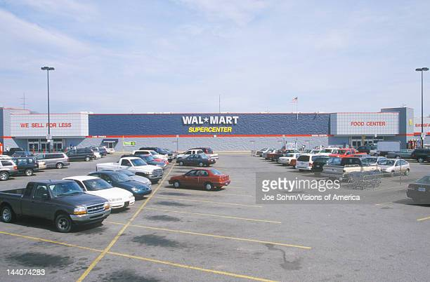 Parking lot and Wall Mart Supercenter in AR where prices are cheap