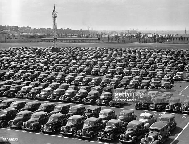 Parking lot at car factory