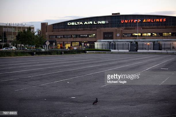 A parking lot at La Guardia Airport where taxi drivers usually wait to pick up airport passengers sits empty as a taxi strike begins on September 5...