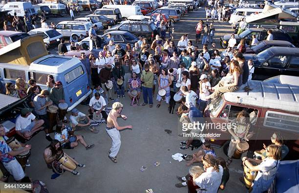 Parking lot drum circle atmosphere as Phish perform at Shoreline Amphitheatre on September 30 1995 in Mountain View California