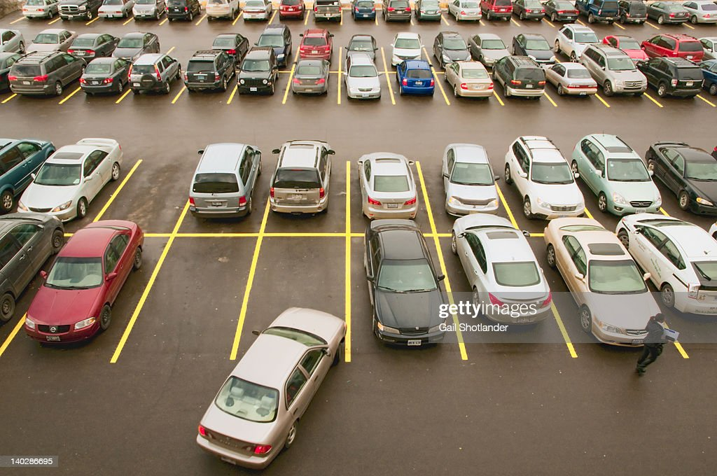 Parking lot full with cars : Foto de stock