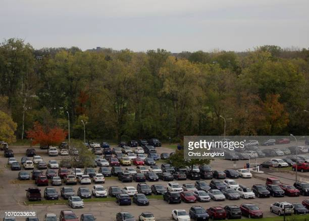 parking lot next to forest - london ontario stock photos and pictures