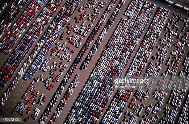 parking lot of car production plant, aerial view - 20世紀 ストックフォトと画像