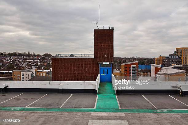 A parking lot on the roof of the shopping mall in Lewisham South East London