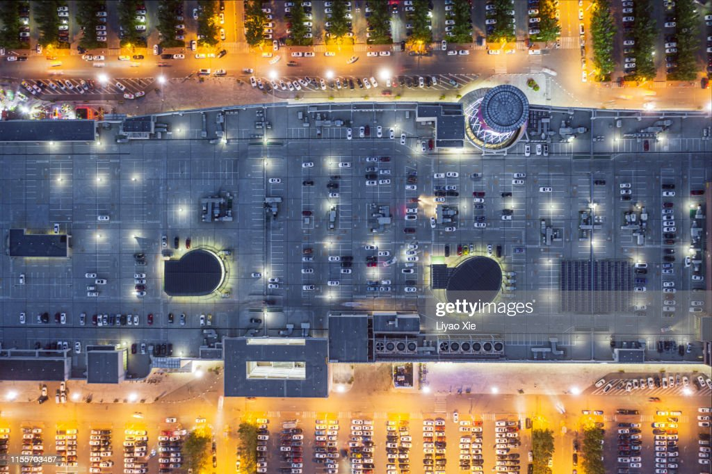 Parking lot top view : Stock Photo