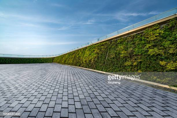 parking lot, wall decorated with the plants - sustainable architecture stock pictures, royalty-free photos & images
