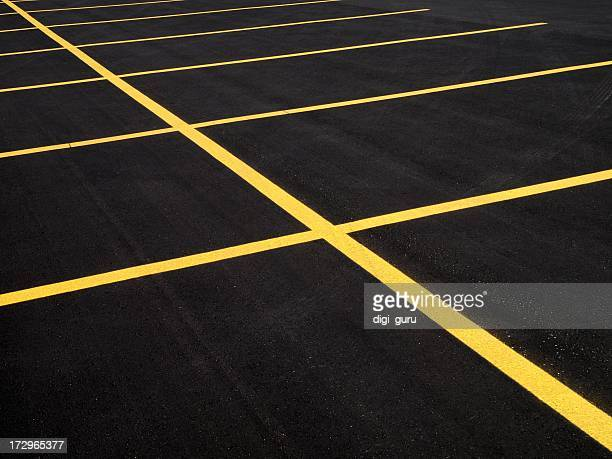 parking lot with fresh pavement - dividing line road marking stock pictures, royalty-free photos & images