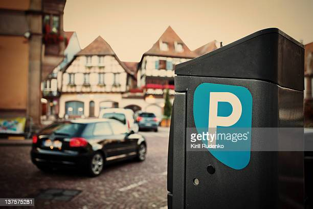 parking machine in obernai - parking meter stock photos and pictures