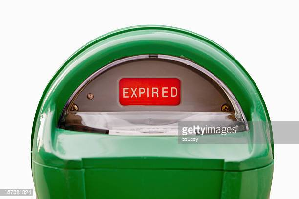 parking meter expired in green and red - parking meter stock photos and pictures