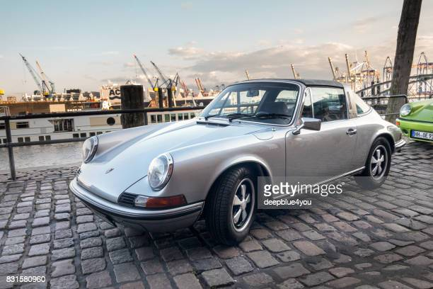 A parking Porsche 911 during the 'Magnus Walker meeting' in Hamburg at the fish market