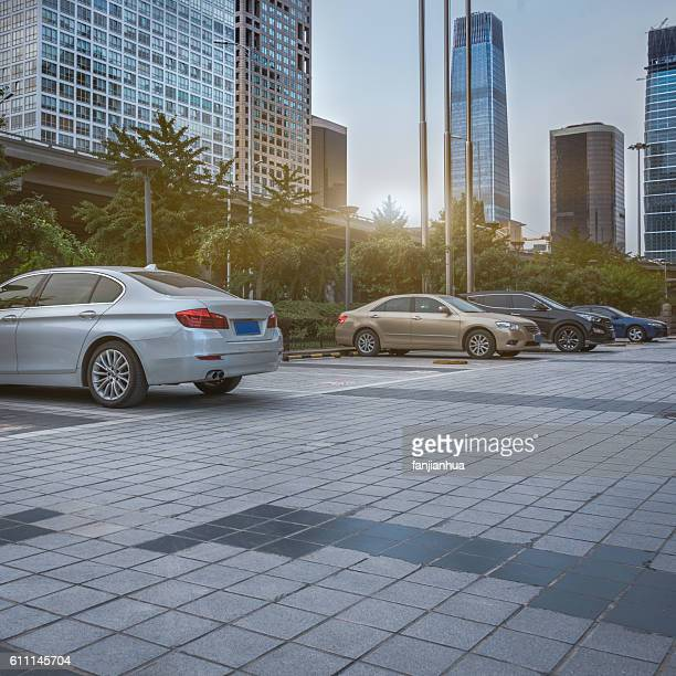 parking space front of modern office building - car park stock pictures, royalty-free photos & images