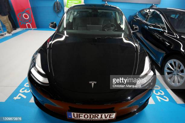 A parking Tesla car pictured during the opening of the first Berlin electric caresharing station of UFODRIVE on March 02 2020 in Berlin Germany...