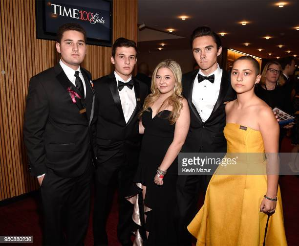 Parkland activists Alex Wind Cameron Kasky Jaclyn Corin David Hogg and Emma Gonzalez attend the 2018 Time 100 Gala at Jazz at Lincoln Center on April...