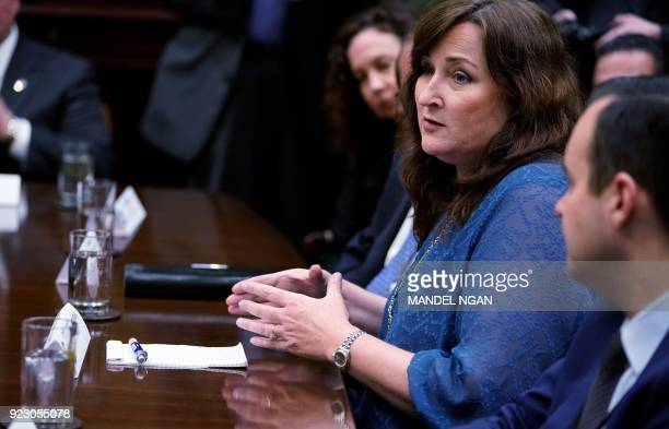 Parkland Mayor Christine Hunschofsky speaks during a meeting with US President Donald Trump and state and local officials on school safety in the...