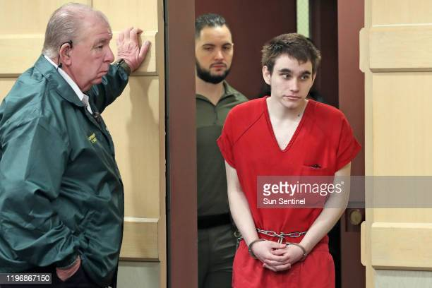 Parkland school shooter Nikolas Cruz enters the courtroom for a pretrial hearing at the Broward County Courthouse in Fort Lauderdale on Monday Jan 27...