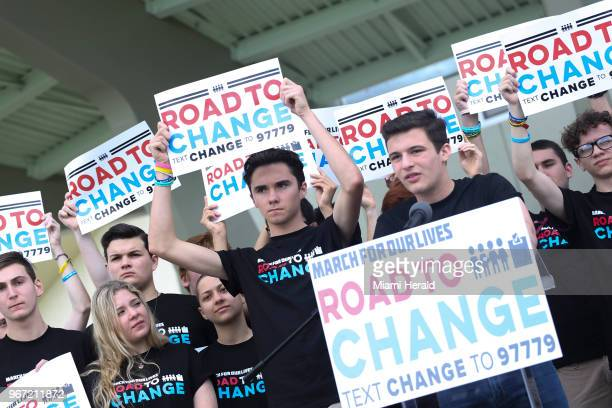 Parkland shooting survivors Emma Gonzalez David Hogg and Cameron Kaskey hold a press conference for the March for Our Lives movement on Monday June 4...