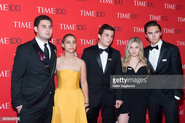 Parkland student activists Emma Gonzalez Cameron Kasky Jaclyn Corin and David Hogg attend the 2018 Time 100 Gala at Frederick P Rose Hall Jazz at...