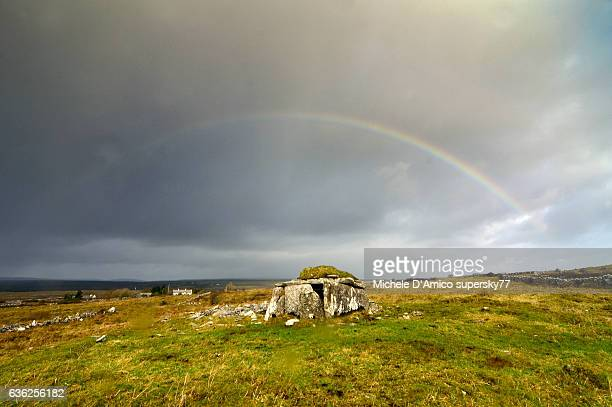 parknabinna wedge tomb, burren - poulnabrone dolmen photos et images de collection