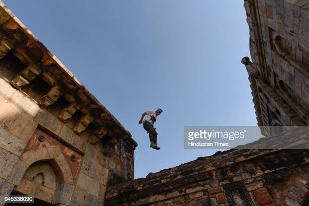A Parkour artist performing stunts on March 29 2018 in New Delhi India Free Run Gaza is a parkour and free runner's group of young Palestinians based...