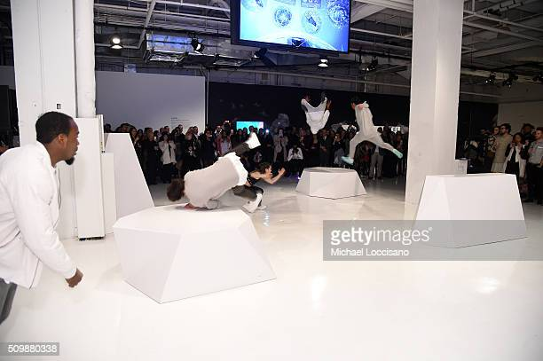 Parkour performance at the Intel party during New York Fashion Week The Shows at Clarkson Sq on February 12 2016 in New York City