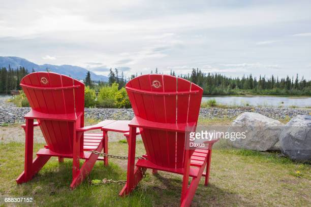 Parks Canada Chairs Looking over the Yukon River