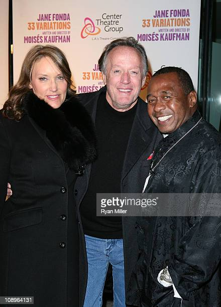 """Parky DeVogelaere, actor Peter Fonda and actor Ben Vereen pose during the arrivals for the opening night performance of """"33 Variations"""" at the Center..."""