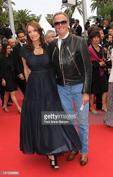 Parky DeVogelaere and actor Peter Fonda attend the 'La Conquete' Premiere during the 64th Annual Cannes Film Festival at the Palais des Festivals on...