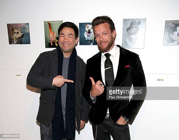 Parky Lee Director of Photography Getty Images and photographer Jamie McCarthy attend a pet portrait exhibition by Getty Images staff photographer...