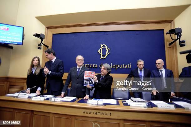 Parlamentarians of Forza Italia Laura Ravetto Gregorio Fontana Elio Vito Renato Brunetta Maurizio Gasparri Antonio Palmieri during the presentation...