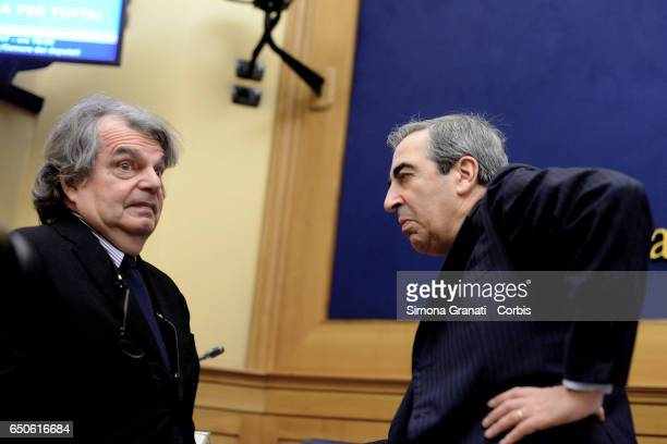 Parlamentarians of Forza Italia Renato Brunetta and Maurizio Gasparri during the presentation of the proposal on Security on March 09 2017 in Rome...