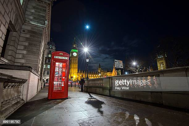 Parliament and Red Phone Box at night