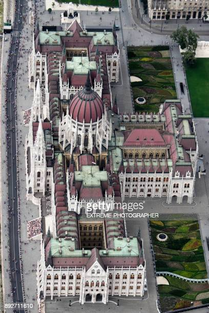 Parliament building in Budapest from the air