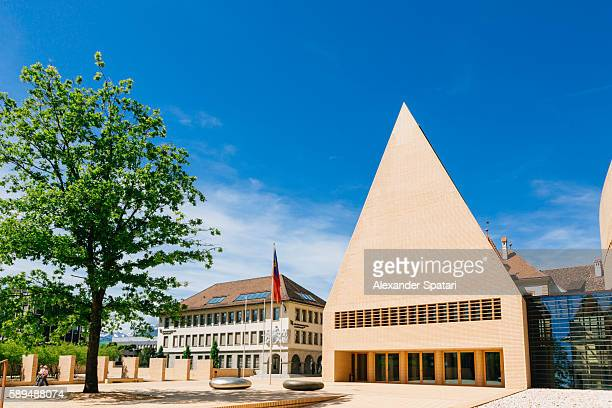 parliament building in vaduz, capital of liechtenstein - principality of liechtenstein stock pictures, royalty-free photos & images