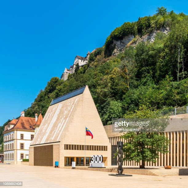 parliament building in vaduz, liechtenstein - vaduz stock pictures, royalty-free photos & images