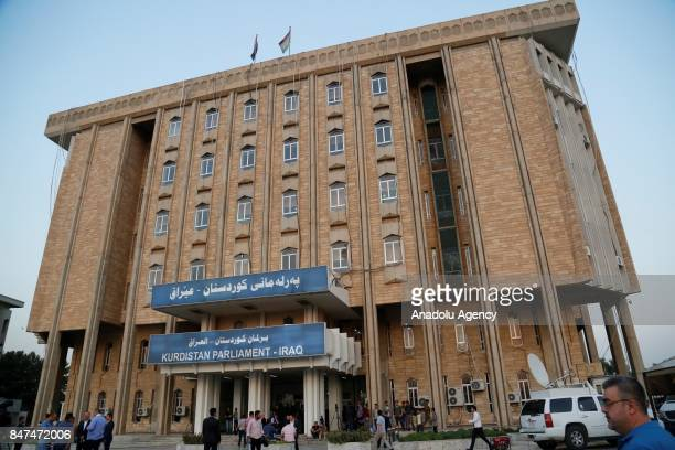Parliament building of Iraqs Kurdish Regional Government is seen as it reopens after two years in Erbil Iraq on September 15 2017