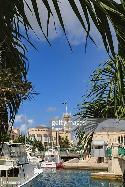 Parliament building with Barbados flag and bridge through trees, Bridgetown, Barbados, West Indies, Caribbean, Central America