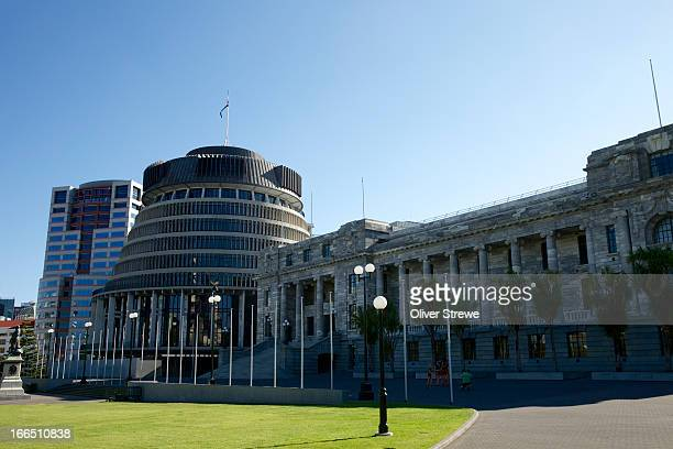 parliament buildings - beehive new zealand stock pictures, royalty-free photos & images