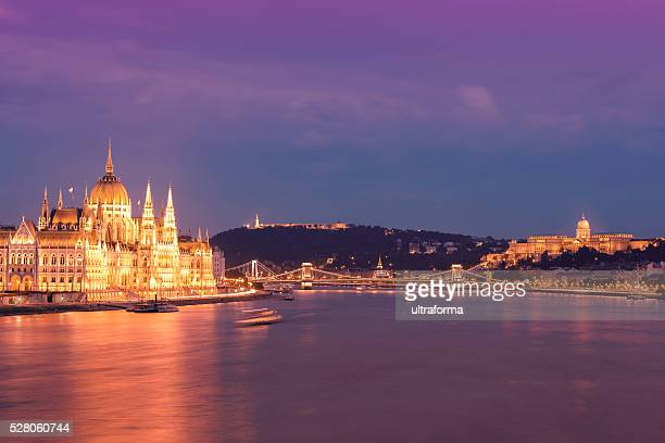 Parliament Chain Bridge Castle Hill Citadella in Budapest at dusk