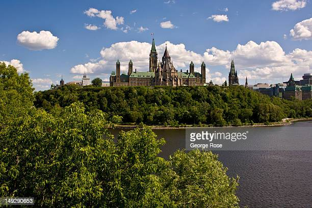 Parliament Hill is viewed from the Alexandra Bridge on June 30 2012 in Ottawa Canada Ottawa the captial of Canada is the fourth largest city in the...