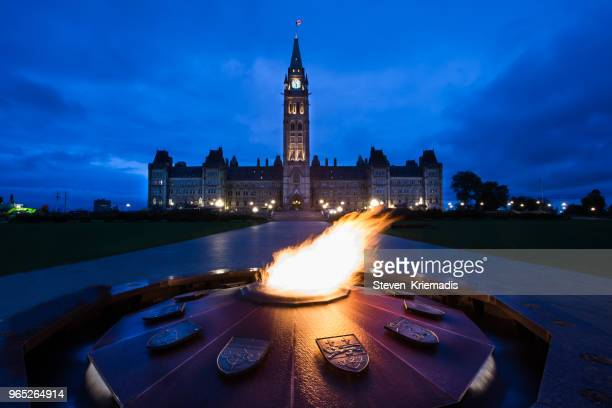 parliament hill - ottawa, ontario, canada - eternal flame stock photos and pictures