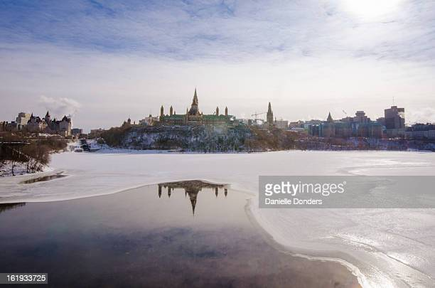 Parliament Hill reflected in the frozen river