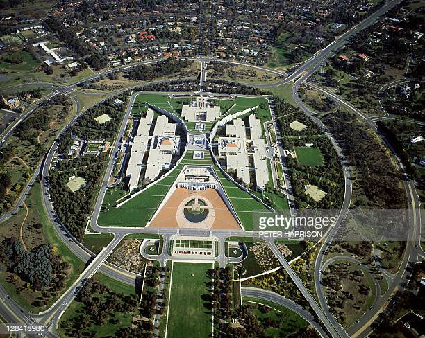 parliament house, canberra, australia (aerial)