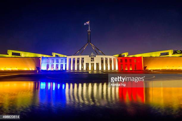 Parliament House, Canberra, lit in French colours