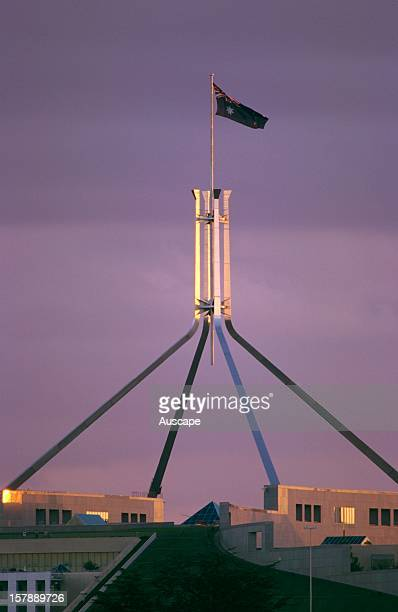 Parliament House designed by Mitchell/Giurgola Architects and opened on 9 May 1988 The flagpole is 81 m in height Canberra Australian Capital...
